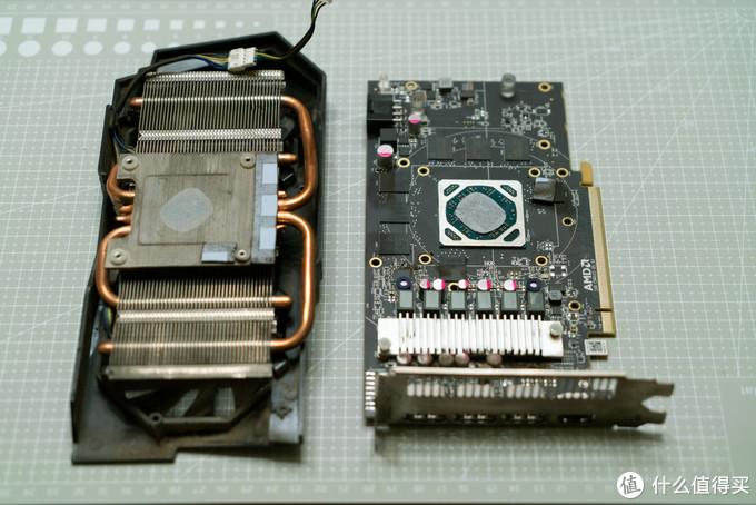 拆掉散热器,哟吼~ 竟然也是4热管穿Fin设计,而且热管长度还挺给力的