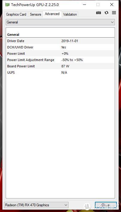 Bord Power Limit:87W,这个功耗墙是个大坎儿~一般RX470跑分低的原因也在这里