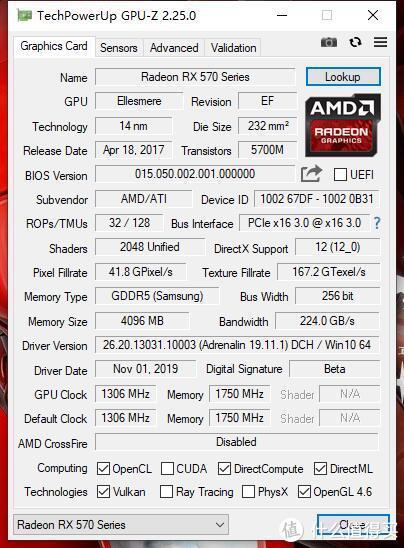 1306MHz的主频,在RX570界也算高的了,驱动版本19.11.1