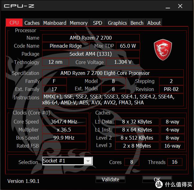 默认频率是3.2Ghz,装了微星的MSI APP MANAGER之后,直接超到3.65Ghz去了。强力安利大家去微星官网下载这个软件,灯光设置、风扇控制以及CPU超频等功能可在软件中直接完成,不用再去BIOS了。尤其是对我这样的新手菜鸟,直观又方便。@3.65Ghz。