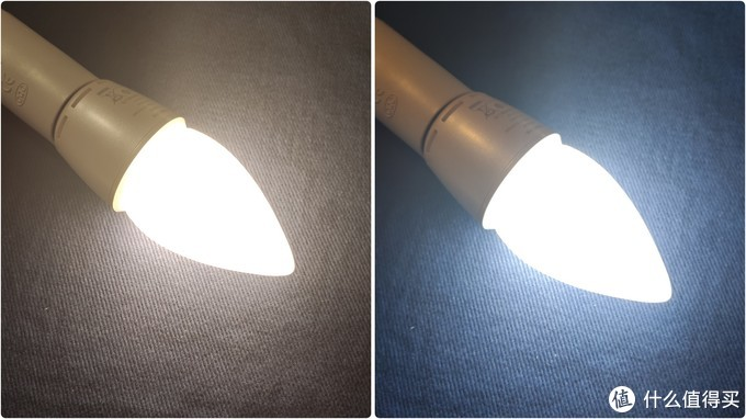 暖光(左)白光(右)