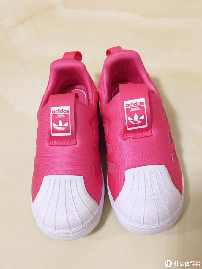 娃的第一双三叶草 adidas女童贝壳鞋天然粉