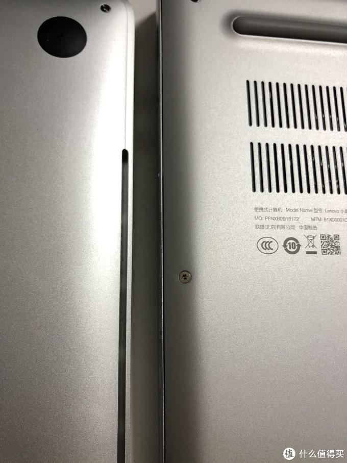 缝隙控制对比,毕竟中低价格的笔电,和MacBook Pro13肉眼可见的差距。