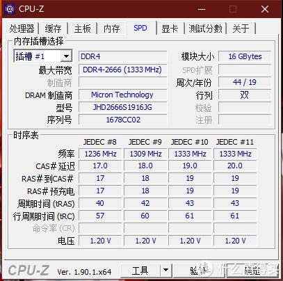 CPU-Z 内存SPD信息