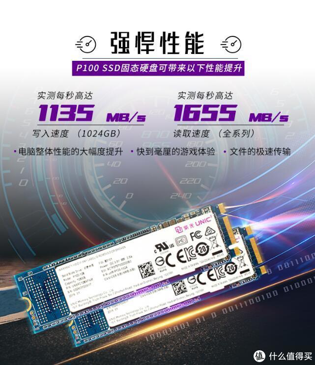 国产SSD崛起:UNIC 紫光 P100 1TB版本 NVMe SSD 上架开售