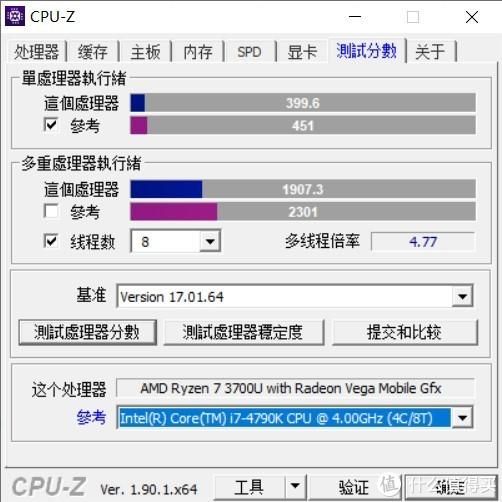 ▲ CPU-Z 测试结果,处理器的性能已经能够接近当年的台式机i7-4790K了。