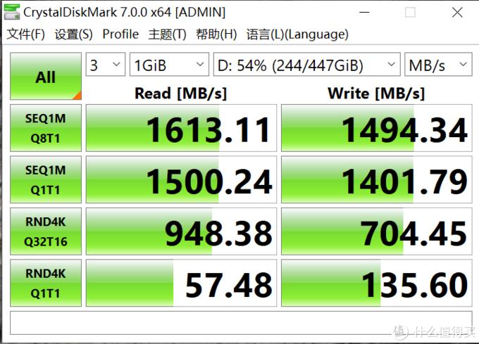 480G的D盘测试数据,我觉得还可以,毕竟不到300块,比一些SATA接口的还便宜了。