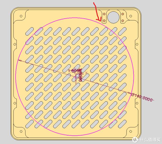 图上的圆圈代表14cm风扇的范围