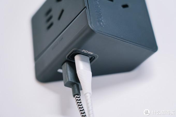 自带1A1C PD充电器:飞利浦小飞 18W快充智能插座详测
