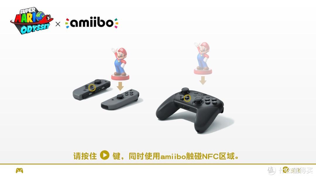 如果选择使用amiibo,游戏会提示按住左键的同时,使用amiibo碰触NFC区域