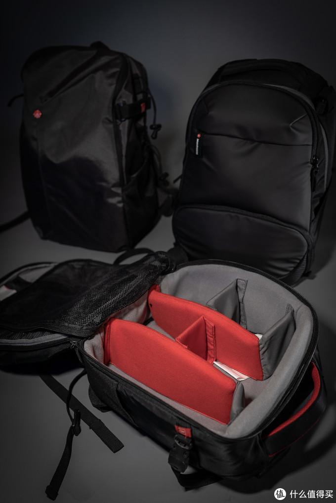 步行者的背包体积虽然很小,但是没有设计个人物品仓位,整个背包内部就是这样,所有空间用于放置设备,所以非常能装,从曼富图官方介绍中可以看出步行者可以放入一机五镜以及小型三脚架。