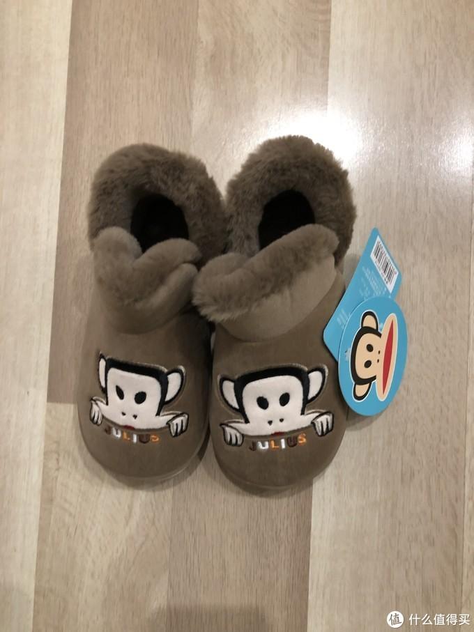 新春年货带新鞋—大嘴猴保暖居家棉拖鞋(褐色,尺码210)