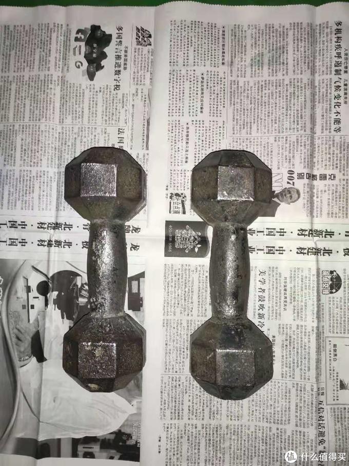 充电角磨机的使用——翻新一对旧哑铃