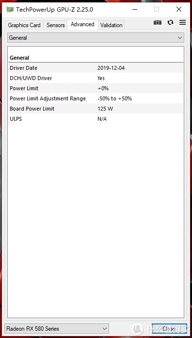目测刷了迪兰的580 BIOS,标准功耗仅125W~±50动态范围