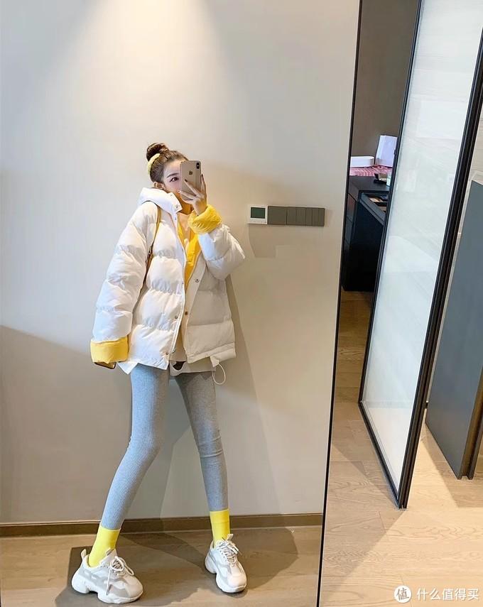 黄白拼色面包服
