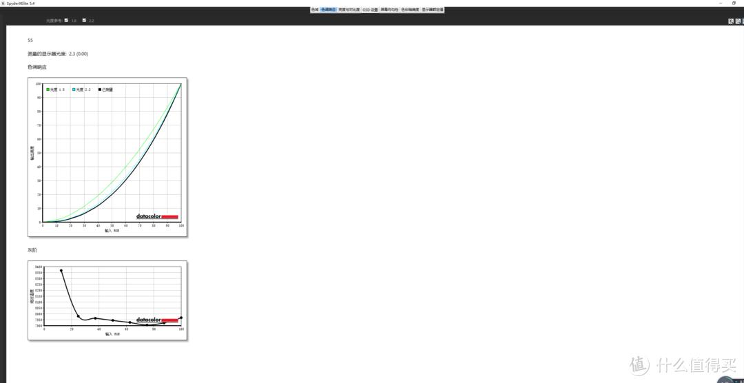 Gamma曲线2.3,相对于标准值2.2来说已经是电竞显示器中相当出色的水平了