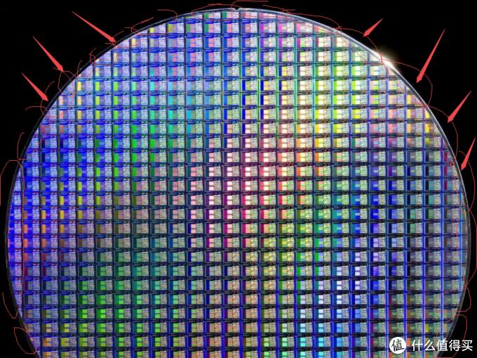 箭头所指处,红圈内的Die(IC晶片)由于并不完整,因此都将被切掉废弃