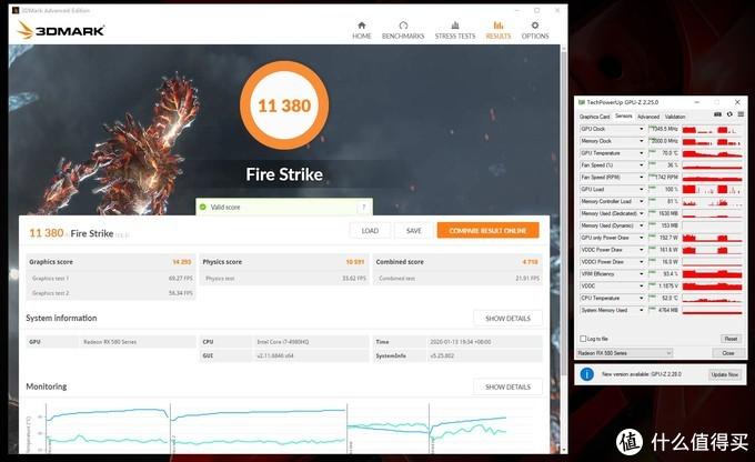 3Dmark Fire Strike总分:11380,显卡分:14293;显卡峰值温度:70°C;峰值功耗:192.7W