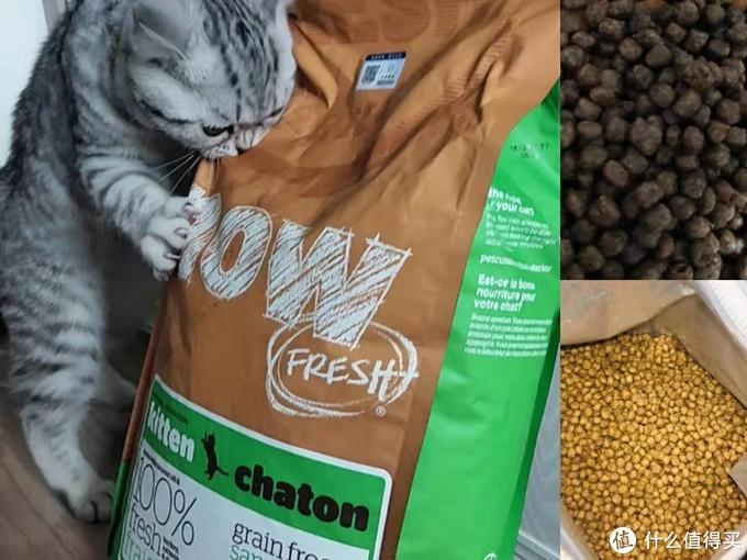 (now幼猫粮,右侧上下为我买到的同款产品,颜色差异太大!)