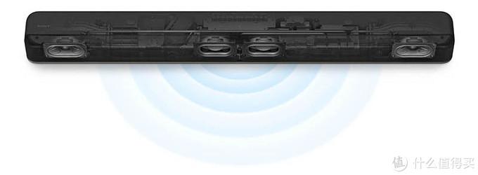 左右两只为全频单元,中间两只为低音单元