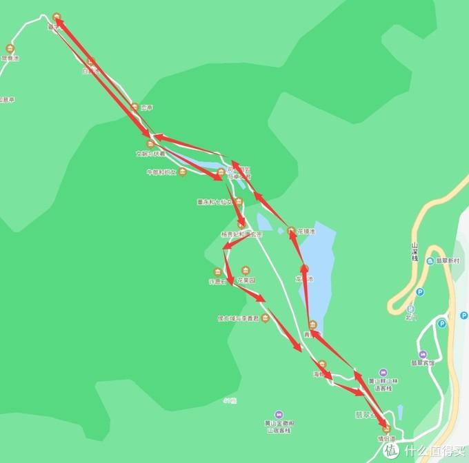 翡翠谷的路线,百度上标的不清晰,实际是按照红色箭头走的