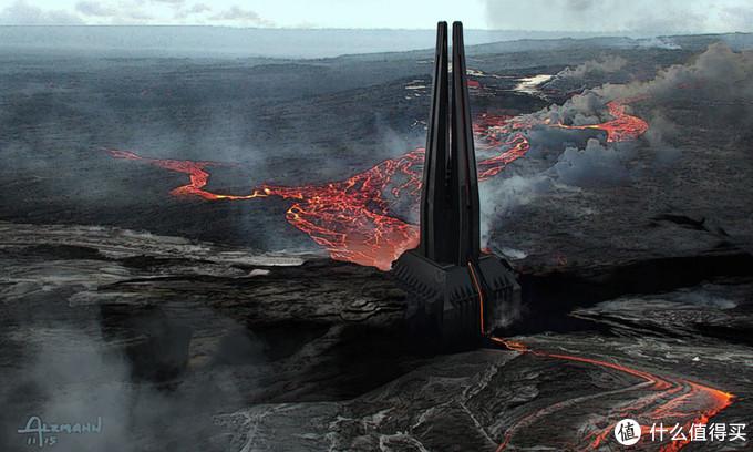 维达城堡坐落于熔岩星球穆斯塔法,恶劣的环境衬托出末世绝望的废土风格,与西斯化的阿纳金气质暗合