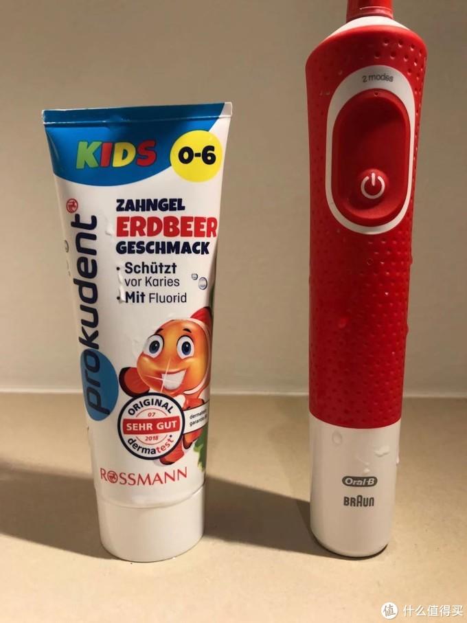孩子刷牙的黄金组合必固牙膏+欧乐b电动牙刷