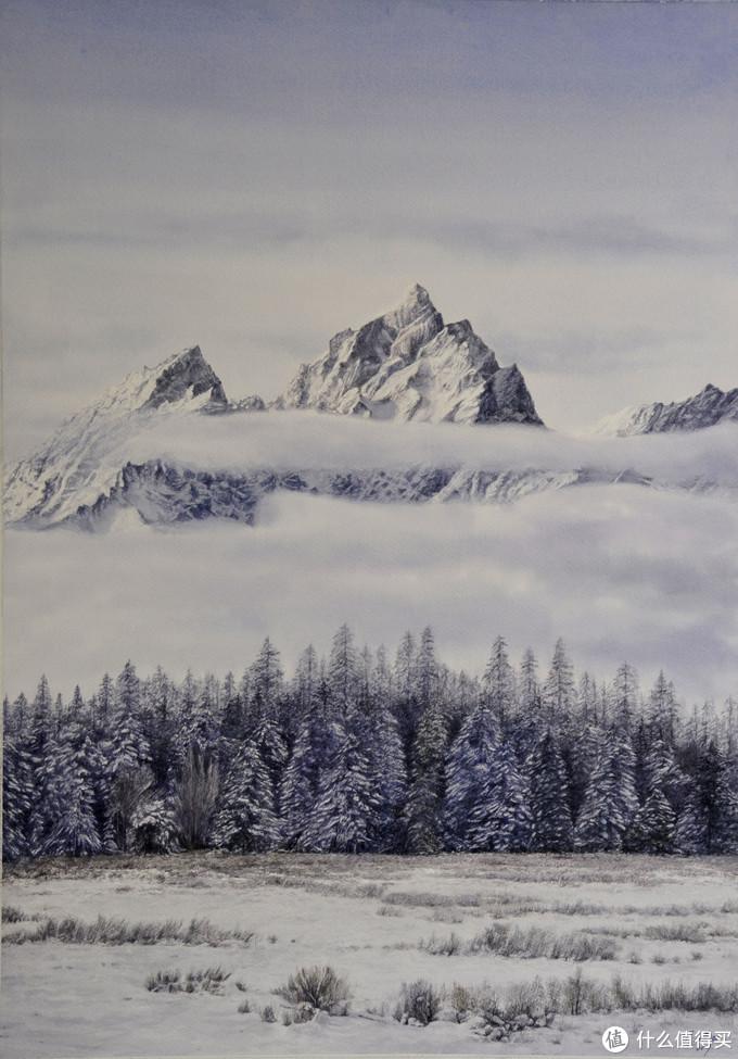 云峰寒松雪霁图 107x77cm
