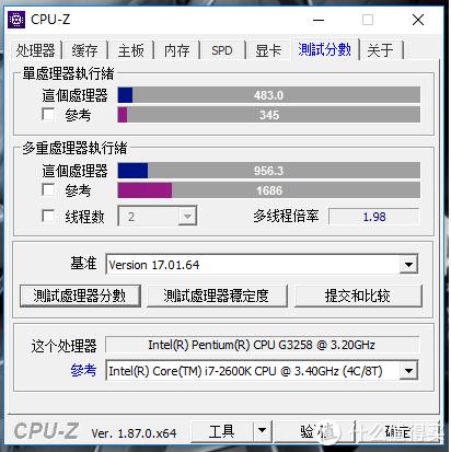 4.5GHz的G3258CPU测试分数:单核483;多核956.3