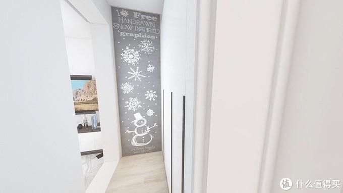 站在卧室看走道,尽头黑板墙,右手边40的衣柜