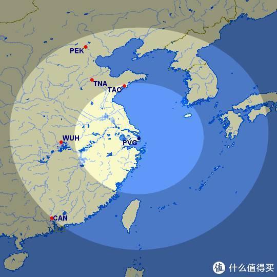 上海浦发600km和1200km范围内几个主要机场位置