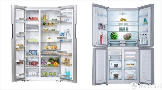 (左:对开门冰箱 右:十字开门冰箱)