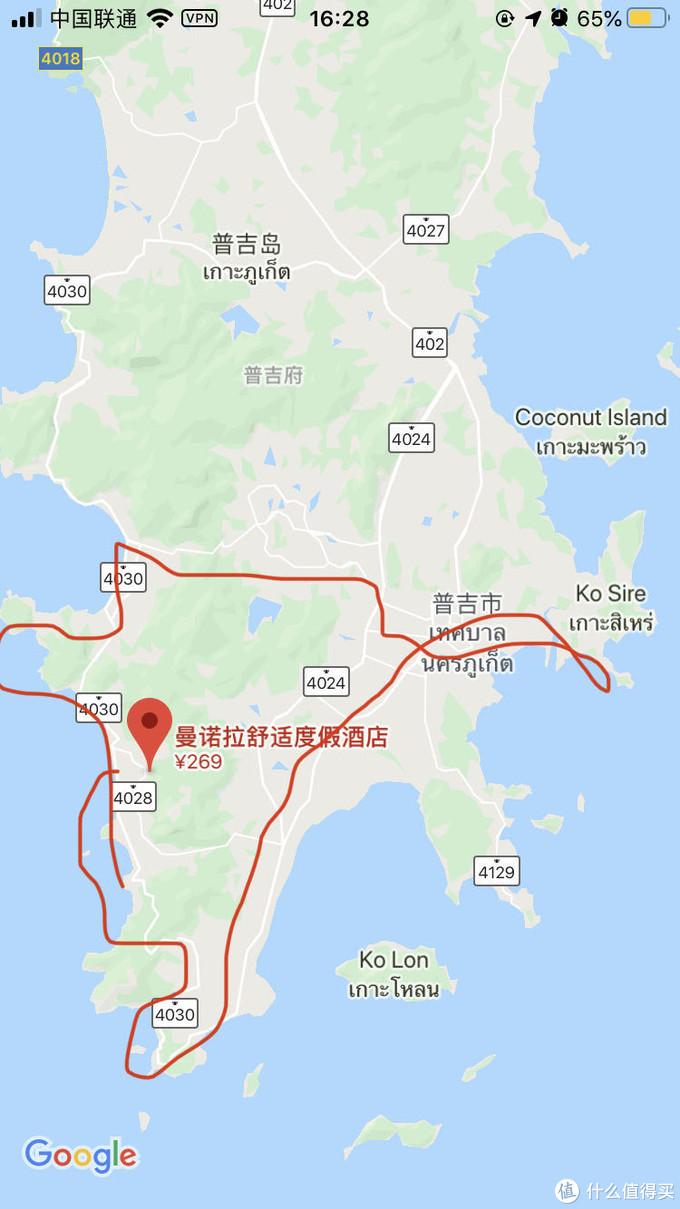 随便画路线图,经过卡伦观景台、Yanui海滩、拉威海滩、拉威海鲜市场、查龙寺、然后一个不知道的地方、普吉镇吃晚餐、芭东沙滩