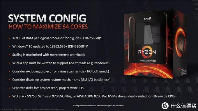 AMD官方提供的TR3990X硬件配置参考