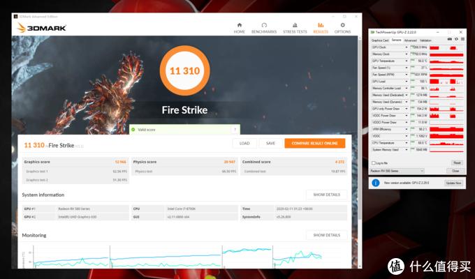 FireStrike得分11310,显卡分12966,峰值温度56°C,峰值功率154.2W
