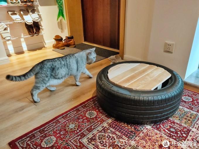 朋友的旧轮胎,做了个换鞋凳