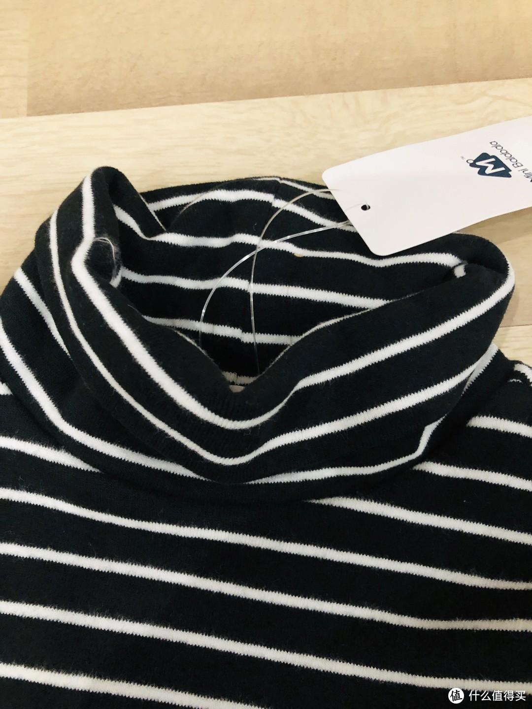 宅家买买买,开春囤货迷你巴拉巴拉儿童高领打底T恤衫(黑白色,110尺码)