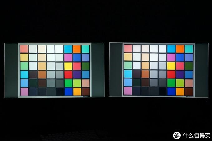 色块对比,IPS颜色稍好些,不过卓威XL2546也是块比较优秀的TN屏,在颜色比较多的画面用肉眼看两者差距不大
