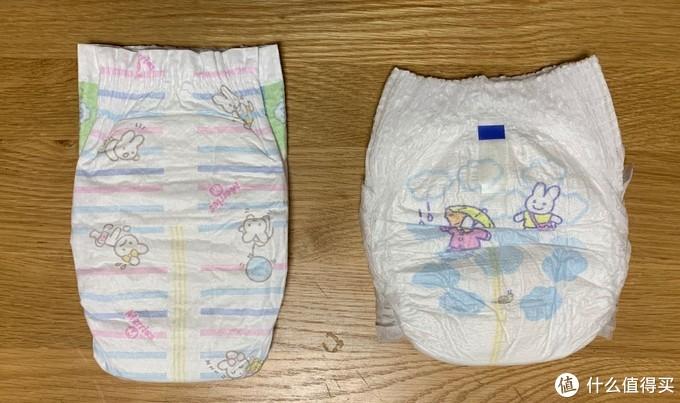 纸尿裤和拉拉裤背面对比