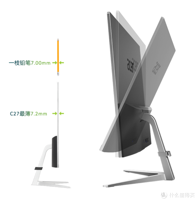 """升级第十代、依旧纤薄:acer 宏碁 新款 C27""""蜂鸟""""一体机电脑上架预售 5999元"""