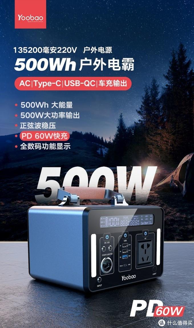 羽博推出153Wh、155Wh、500Wh、1000Wh四款户外电源,均支持PD快充