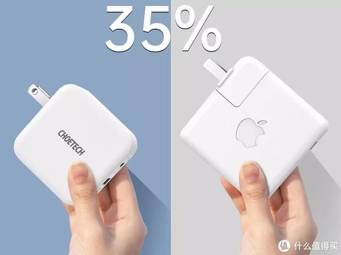 choetech的65W氮化镓充电器充电器造型方正,个头不大,整个机身的投影面积要小于一张名片,比苹果原装61w充电头要小了35%。