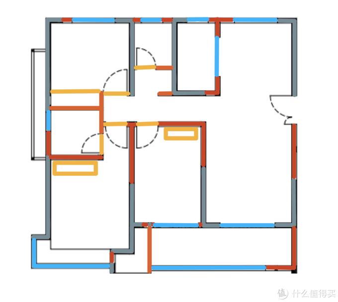 根据实际承重墙,砖墙,门柜材料绘制地图