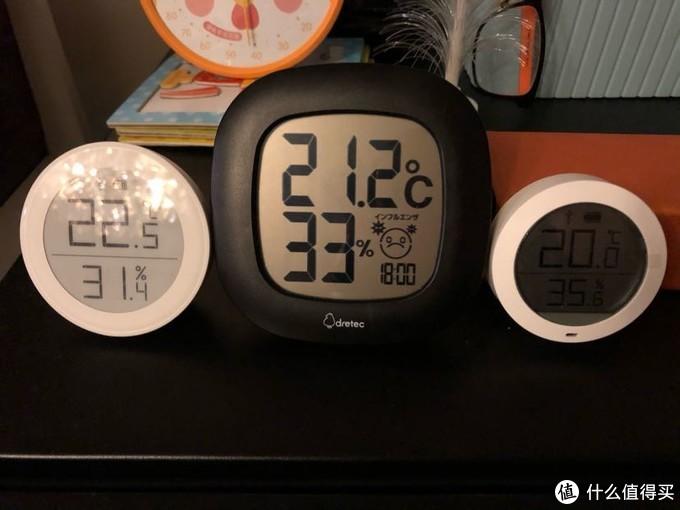 从左到右分别是AIRMX自带的温湿度计,日本Dretec温湿度计,小米温湿度计