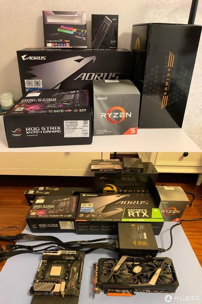 CPU:AMD R5 3600X  主板:华硕X470-I Gaming(套装2399)  内存:芝奇RGB 16G 8x2(799)  显卡:技嘉RTX 2070super(4899)  硬盘:WD SN750 500G(589)  电源:长城GX 850W(589)  机箱:安钛克锋芒 (1499)