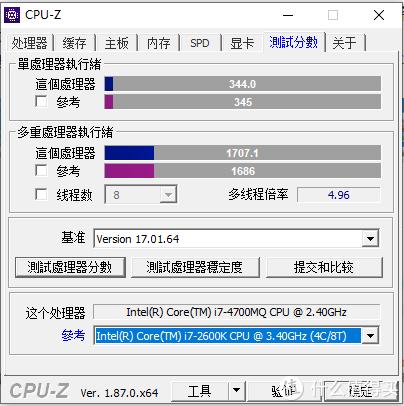 CPU-Z测试性能基本等同于i7-2600K(虽说PL1没得比,但也心满意足)