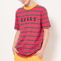 GUESSxJBALVIN联名男条纹字母LOGO短袖T恤