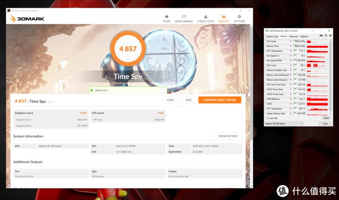 3DMark Time Spy得分4857,显卡分4547,峰值温度77°C,峰值功耗220.8W
