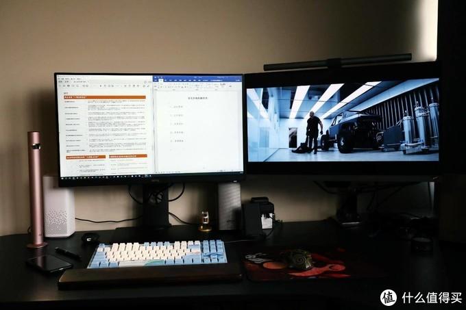 健康升级玩法多样,办公娱乐两不误,搭建多功能双屏办公桌面及灯光布局