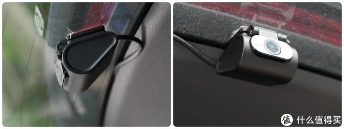 △博世记录仪的这种带3M胶而且支持大角度调整的内置式后摄像头适合贴在后车窗里侧。